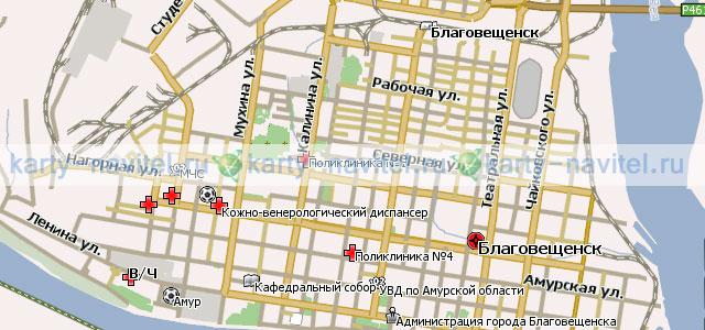 Карта Благовещенска подробная