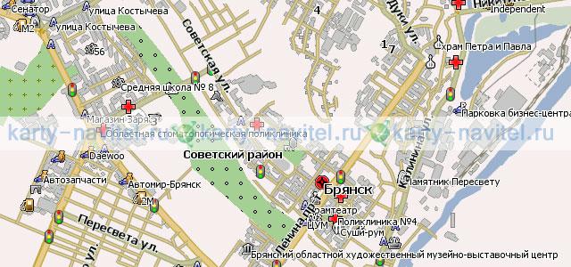 Брянск - карта города для