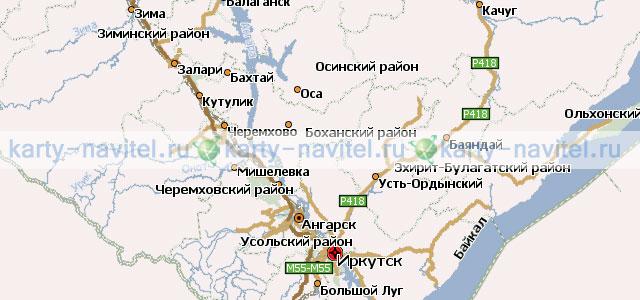 Иркутская область - карта для