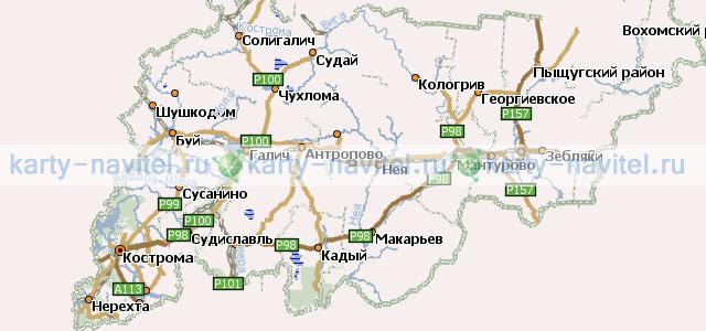 На фото карта Костромской области, на которой обозначены шоссе и...