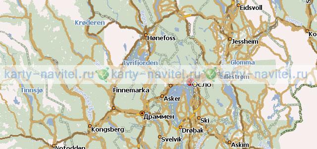 На фото фрагмент карты норвегии на