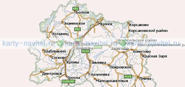 На фото часть карты Орловской области, на которой обозначены...