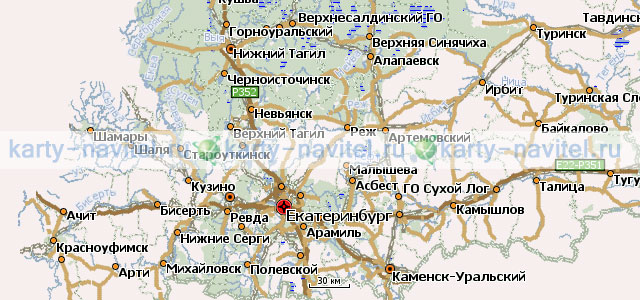 Свердловская область - карта