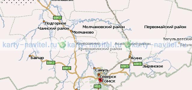 Томская область - карта для