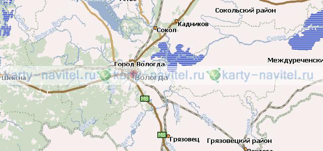 Скачать для навигатора карту вологодской области для